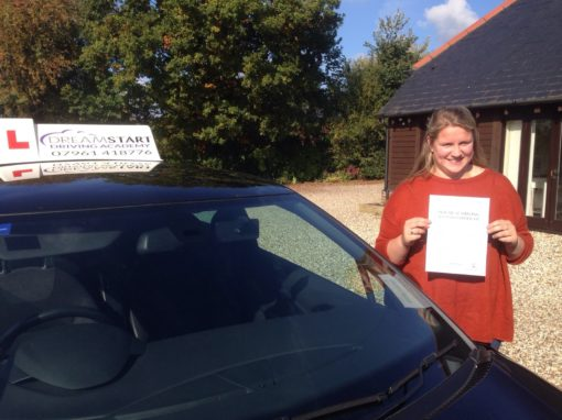 Issie M – Passed 1st time on 20th October 2015