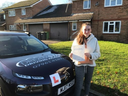 Tia S – Passed first time on 2nd December 2019